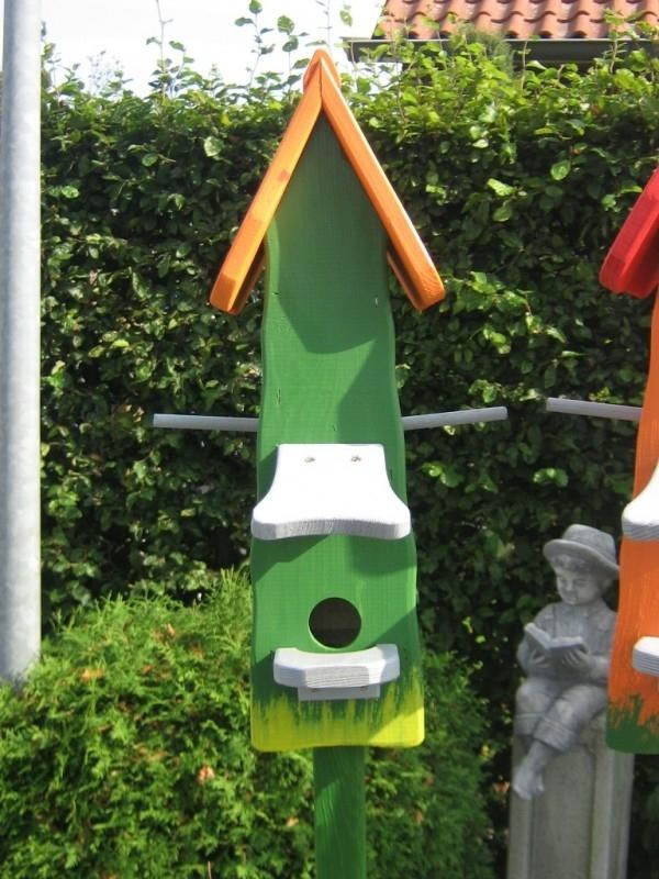 Vogelhuisje 74-2 Groen Oranje