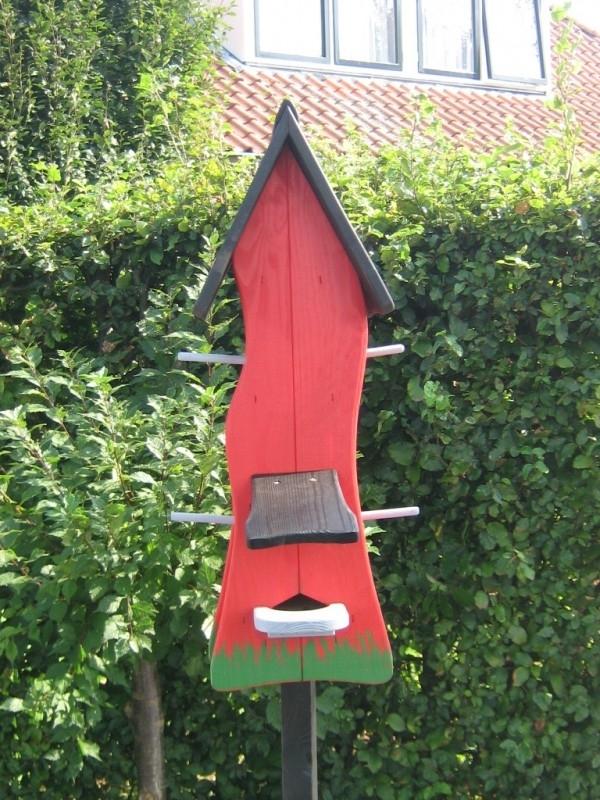 Vogelhuisje 74 Rood - Zwart