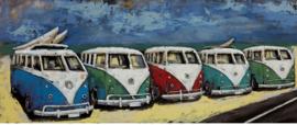 Vijf VW busjes – Metalen 3D schilderij