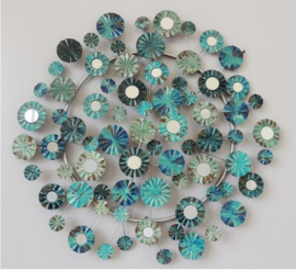 Metalen wand decoratie Blue Flowers
