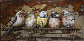 Vijf  Vogels  Metalen 3D Schilderij