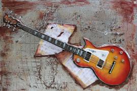 Metalen 3D schilderij – Gibson elektrische gitaar