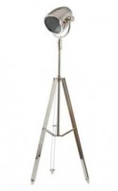 Kingston zilveren driepoot vloerlamp   -  Hoogte 155 cm