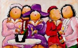 """Dikke Dames schilderij   """" Mijn hoedje is nieuw """""""
