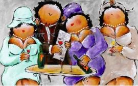 """Dikke Dames schilderij   """" Nog één glaasje.... schat  """""""