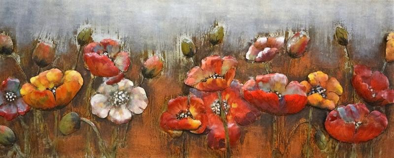 Warm bloemen schilderij - Metalen 3D schilderij