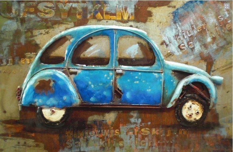 Blauwe Eend 2CV metalen schilderij
