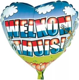 Welkom thuis folieballon hart excl.