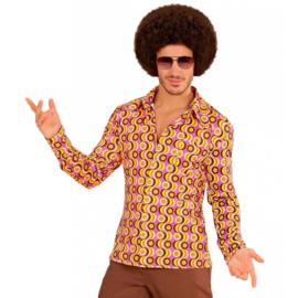 Groovy 70's  heren shirt pinkprint