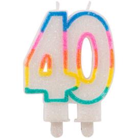 40 jaar Glitterkaarsjes met 2 houders