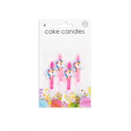 4 Cake kaarsjes Unicorn
