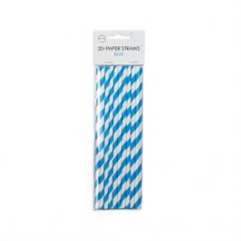 20  Papieren rietjes 6mm x 197mm striped blauw