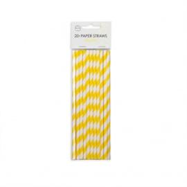 20  Papieren rietjes 6mm x 197mm striped geel