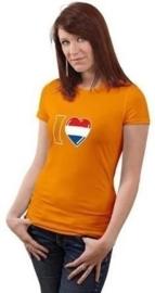 T-shirt modern oranje OP=OP