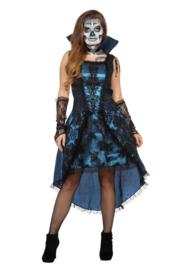 Vampirelady jurk blauw