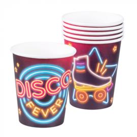 Set 6 Papieren bekertjes 'Disco fever'