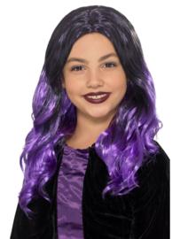 Halloween pruik kinderen paars zwart