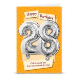 Leeftijd ballonnen kaart 28 jaar