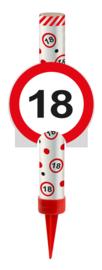 IJsfontein 18 jaar verkeersbord