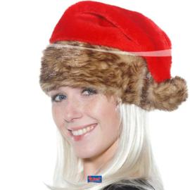 Kerstmuts met bruin bont