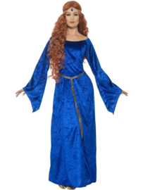Middeleeuwse meid jurk blue
