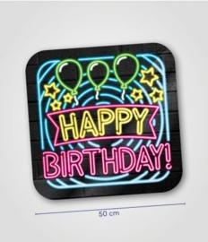 Deurbord neon happy birthday