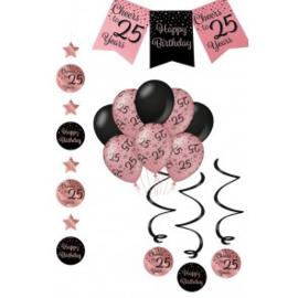 Verjaardag Feestpakket 4 delig rose zwart   25 jaar