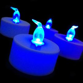 LED kaarsjes blauw per 12