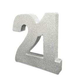Tafeldecoratie 21 glitter zilver