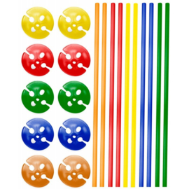 Ballonstokjes met houder multicolor 10 stuks