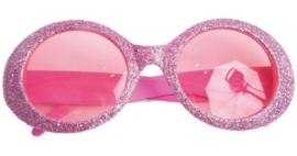 Neon glitter bril pink