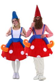Kabouter op paddestoel gedragen kostuum