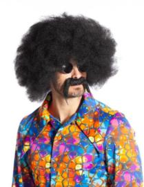 Afro pruik met snor