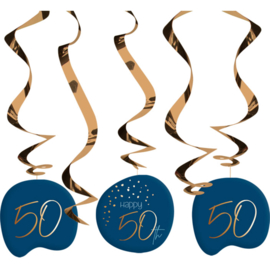Hangdecoratie Elegance true blue 50 jaar
