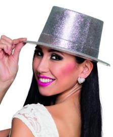 Hoge hoed glitter zilver
