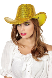 Cowboy hoed paillet goud