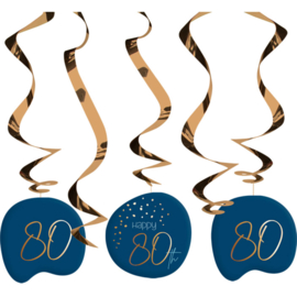 Hangdecoratie Elegance true blue 80 jaar