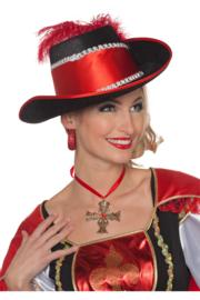 Musketiers hoed luxe rood