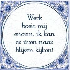 "Delftsblauw tegeltje ""Werk boeit"""