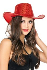 Cowboy hoed paillet rood