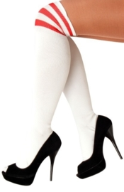 Lieskousen wit met rode strepen