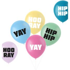 Pastel ballonnen hip hip hooray   33cm / 6 stuks
