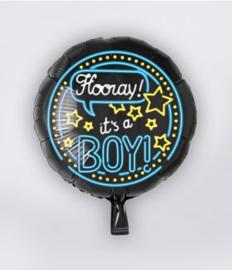 Neon folieballon Hoera een jongen