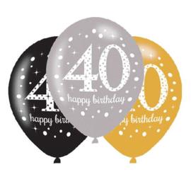 Ballonnen sparkling gold 40 jaar