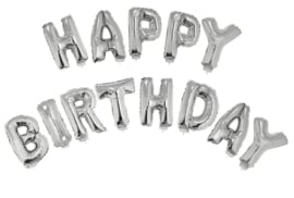 Ballonset 38cm met lint Happy Birthday  Zilver