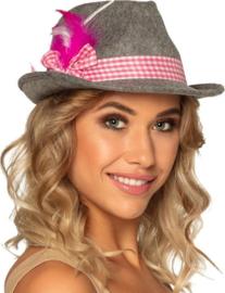 Oktoberfest hoed Wiesn | grijs pink