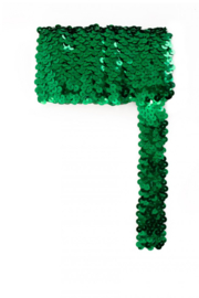 Paillettenband breed elastisch groen 3m
