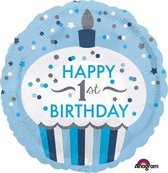 Folieballon cupcake 1st BDAY boy (43cm)