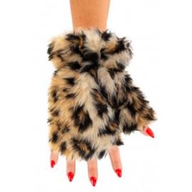 Vingerloze handschoenen pluche | panter