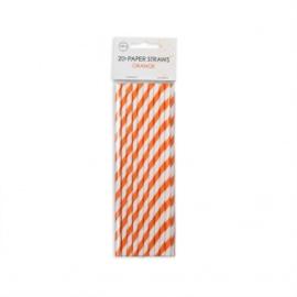 20  Papieren rietjes 6mm x 197mm striped oranje